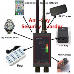 Profesionálny rádiový detektor (1MHz-12000MHz – WiFi, GPS, GSM, 3G, 4G, RF, audio, video) proti špionáži s dlhou magnetickou LED anténou