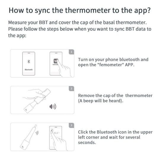 Femometer - inteligentný teplomer monitoringu Ovulácie pre prírodné plánovanie rodičovstva alebo neplodné dni spárovateľný s Android alebo IOS smartfónmi