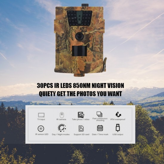 Fotopasca so záznamom foto a videa na dátovú kartu s pohybovým senzorom a nočným videním