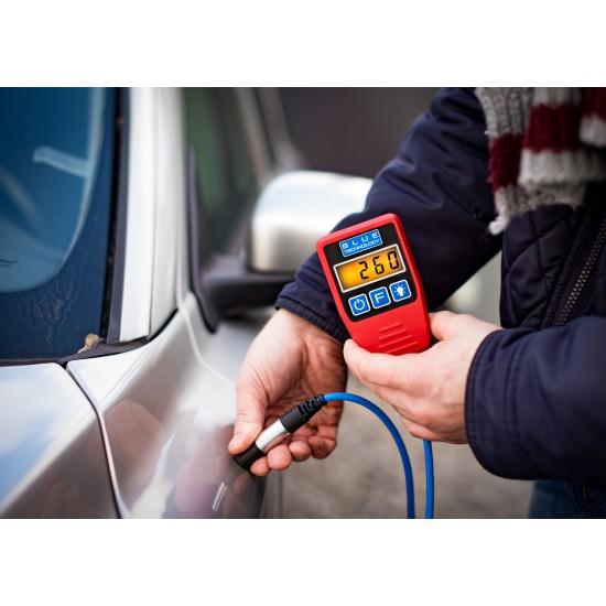 Profesionálny merač hrúbky laku pre vozidlá s káblovou dotykovou sondou - zistenie dvojitého náteru, alebo tmelenia (Podklady - oceľ, galvanizovaná oceľ, hliník)