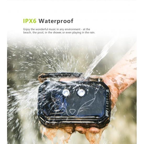 Outdoorový prenosný Bluetooth reproduktor, kvalitný zvuk, vodeodolný, pasívna ozvučnica, vstavané svetlo