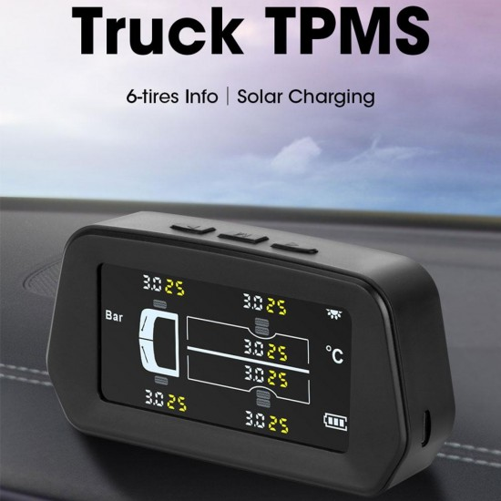 Merač teploty a tlaku pre 6 kolies pre všetky typy vozidiel - TPMS pre 6 kolies, LCD displej, solárne nabíjanie